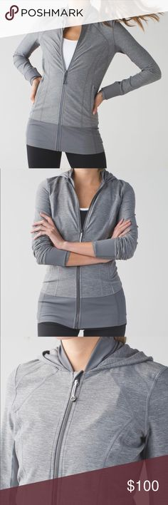 Lululemon Daily Practice Jacket Grey SIZE 10 NWOT If committing to a daily practice means we get to wear this jacket every day, then count us in. We pull on this soft mid-layer to stay cozy during warm-ups, cool-downs and chill-outs. The hood hides post-yoga hair and keeps our head in the game.   designed for: yoga, gym, training, to-and-from lululemon athletica Jackets & Coats