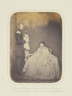 Prince and Princess Frederick William of Prussia with Prince William and the infant Princess Charlotte, Potsdam 1860 [in Portraits of Royal Children Vol.5 1860-1861] | Royal Collection Trust