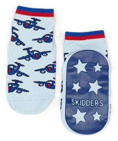 Loving this Blue Airplane Gripper Socks on #zulily! #zulilyfinds