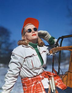 A 1940s woman looking stylish, cozy and fantastic on a cold winter's day.