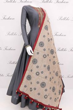 Enrich your outlook wearing this stylish grey soft silk outfit with handwork on top.This gorgeous outfit comes with attractive soft silk dupatta Designer Anarkali Dresses, Designer Gowns, Indian Wedding Outfits, Indian Outfits, Indian Attire, Indian Clothes, Indian Gowns Dresses, Indian Designer Suits, Dress Indian Style