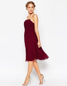 ASOS WEDDING Midi Dress With Ruched Wrap Front