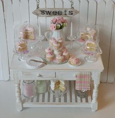 Miniature Shabby Chic Bakery table - RESERVED. $175,00, via Etsy.