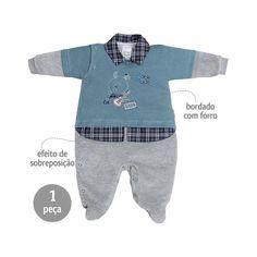 Macacão Bebê Menino em Plush com Sobreposição Azul - Sonho Mágico :: 764 Kids   Roupa bebê e infantil