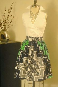 DIY African Print Midi Full Skirt with Pockets.