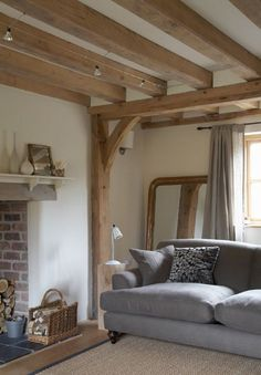 soft grey against white walls and new oak beams (fabulous grey linen curtains) -. - soft grey against white walls and new oak beams (fabulous grey linen curtains) - The Paper Mulberry: White Cottage Living Rooms, Cottage Interiors, Home Living Room, Living Room Decor, Cottage Lounge, Style At Home, Salons Cottage, Border Oak, Oak Frame House