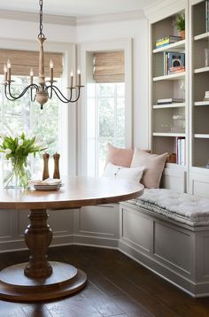 gorgeous breakfast nook from Fixer Upper with white oak round wood table and built in seating Dining Nook, Dining Room Design, Dining Room Bench Seating, Dining Set, Breakfast Nook Table, Kitchen With Breakfast Nook, Breakfast Room Ideas, Breakfast Nook Cushions, Fixer Upper Kitchen