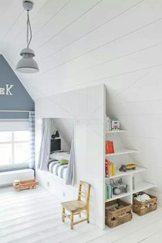 interesting idea for children& room in the attic - bed with .- interessante Idee für Kinderzimmer im Dachgeschoss – Bett mit Stauraum interesting idea for children& room in the attic – bed with storage space # Attic -