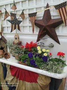 Happy Fourth of July! ~ Patriotic Potting Sink (Garden of Len & Barb Rosen)