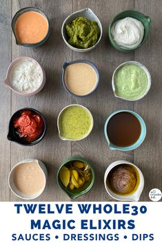 I love my Magic Elixirs, which are truly a shortcut to deliciousness. This post is packed with my favorite Whole30 sauces and dressings! #nocrumbsleft #whole30dressing #whole30dip #whole30sauce Paleo Whole 30, Whole 30 Recipes, Whole 30 Sauces, Whole 30 Meal Plan, Clean Eating, Healthy Eating, Cooking Recipes, Healthy Recipes, Food Is Fuel