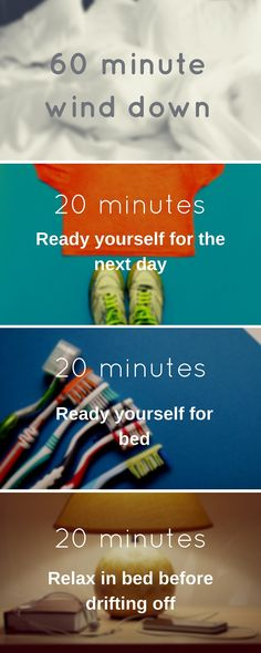 60 minute bedtime wind down — 30 day sleep challenges — #8anight Planning in this extra hour should give your mind and body time to start winding down and relaxing; preparing yourself for a restful, restorative night's sleep. https://medium.com/30-day-sleep-challenges/60-minute-bedtime-wind-down-e07cee5e967b#.p1z6hb9wc