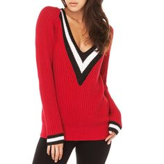 Hodoyi Women Fashion New Autumn Long Sleeve Striped V-Neck Sweaters Winter Clothing Pullovers Color Block Navy Loose Sweaters