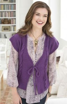 Lace In The Cables Vest By Julie Farmer - Free Knitted Pattern - (redheart)