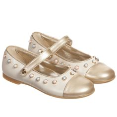 Missouri Girls Ivory & Gold Leather Beaded Shoes at Childrensalon.com