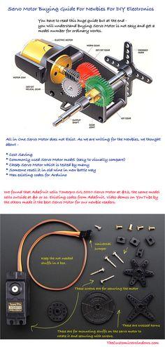Servo Motor Buying Guide For Newbies For DIY Electronics - Arduino Hobby Electronics, Electronics Projects, Electronics Gadgets, Electronics Components, Motor Arduino, Arduino Projects, Diy Projects, Nouveaux Gadgets, Diy 2019