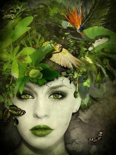 Abstract Portrait of Woman in Green Foto Fantasy, Fantasy Art, Style Vert, Mother Nature Costume, Foto Fashion, Green Photo, Fantasy Makeup, Gothic Makeup, Green Man
