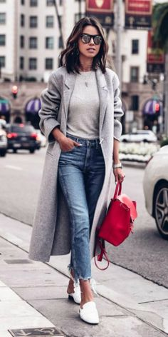 Annabelle Fleur + pop of color + chic + lipstick + red Louis Vuitton backpack + outfit + casual + neutral.  Coat: Acne Studios, Bag: Louis Vuitton, Jeans: 3×1, Bodysuit: Protagonist, Shoes: Dorateymur