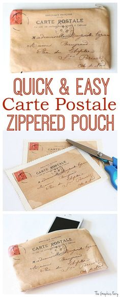 Carte Postale Zippered Pouch DIY Tutorial! - The Graphics Fairy. Such a cute craft this is a great handmade gift idea too!