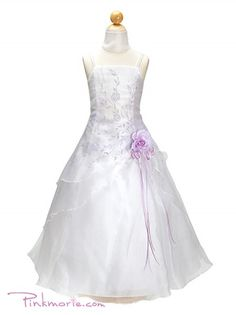 White / Lilac Organza Extra Floral A-Line Flower Girl Dress