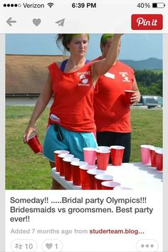 Instead of bachelor/bachelorette parties: Bridal party Olympics with bridesmaids vs groomsmen. Best party idea ever! Wedding Wishes, Friend Wedding, Our Wedding, Dream Wedding, Wedding Games, Wedding Stuff, Wedding Weekend, Wedding Moments, Wedding Dreams