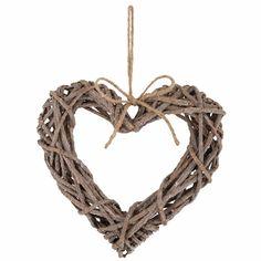 Wunderhübsches Herz aus Zweigen mit Aufhängung. Größe ca.: B: 5 H: 23 L: 25 cm. Macht sich wunderbar an jeder Tür oder Schrank.