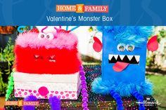 Valentine's Monster Box -  Recycle old tissue boxes to create these ridiculously cute card boxes to send your kids to school with! For more crafts & DIYs, tune in to Home and Family weekdays at 10/9c on Hallmark Channel!