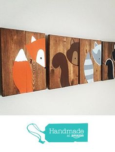 10x14 Set of 4 Woodland Animal Nursery Signs Nursery Decor Baby Shower Gift or Baby Décor nursery accessories from Amber's Wooden Boutique https://www.amazon.com/dp/B016Z4Z41O/ref=hnd_sw_r_pi_awdo_jR6Zwb90RRFH9 #handmadeatamazon