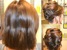 Making short hair appear long in elegant updos. Perfect for parties this season. Now booking Christmas appointments. Call 204-891-4862 to books yours!