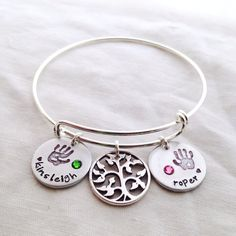 Hand stamped Expandable Charm Bangle Bracelet mommy jewelry footprint  custom personalized up to 3 charms birthstone hand print handprint fad766ccde