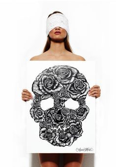 Skull Rose Canvas a original hand drawn limited edition of 100 signed and numbered. Skull Rose art printed on White canvas with black ink.