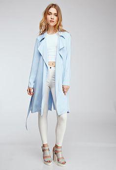 Drapey Twill-Woven Trench Coat