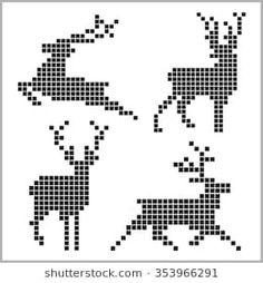 Pixel silhouettes of deers on white background – knitting charts Knitting Patterns Boys, Knitting Charts, Loom Patterns, Free Knitting, Knitted Christmas Stockings, Christmas Knitting, Cross Stitch Designs, Cross Stitch Patterns, Cross Stitch Embroidery