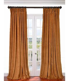 Half Price Drapes VPCH-VET1211-120 Signature Doublewide Blackout Velvet Curtain, Amber Gold, 100 X 120