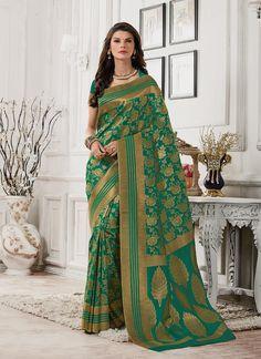 Swanky Green Patch Border Work Tussar Silk Classic Saree
