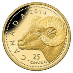 Royal Canadian Mint 25c 2013 Pure Gold Coin - Rocky Mountain Bighorn Sheep $79.95