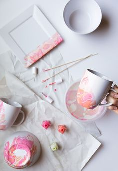 Use nail polish to create a marbled effect on dinnerware!