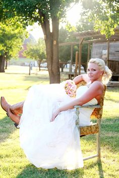 Rustic country bridal pictures Mandy Stansberry Photography.   Maddox look at the cowboy boots on this bride, cute!!!!!!!!