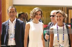 In this handout image supplied by Expo 2015, Giuseppe Sala, Queen Letizia of Spain and Isabel García Tejerina visit to Expo 2015 on July 23, 2015 in Milan, Italy.
