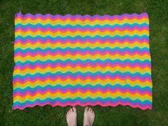 Neon ripple blanket. Half way there now! #neat ripple #attic24 #bright colours