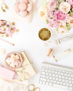b is for bonnie design x SC Stockshop Collaboration | styled blush and gold desktop styling and stock photography