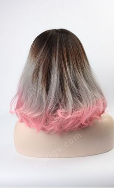 3 Colors Grey to Pink Ombre Shaggy Lob Stye Full Lace Human Hair Wig - Bob - EvaWigs