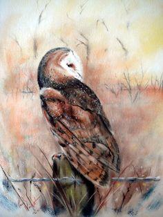 "Owl illustration / Gufo, illustrazione - ""The Ghosts Of Autumn"", Art by astarvinartist on deviantART Diviant Art, Owl Art, Owl Illustration, Knight Art, Wildlife Art, Beautiful Birds, Pet Birds, Watercolor Paintings, Fine Art"