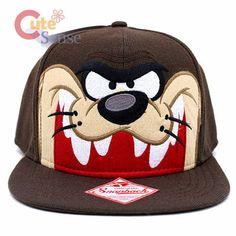 Looney Tunes Taz  Face Flat Bill  Cap Snap Back Hat