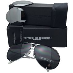 Pre-owned Porsche Design Titanium Aviator Sunglasses White W/ 2 Lens... ($530) ❤ liked on Polyvore featuring accessories, eyewear, sunglasses, none, porsche design sunglasses, aviator sunglasses, unisex sunglasses, titanium glasses and white sunglasses