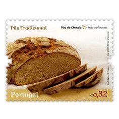 """Pão de Centeio - Trás-os-Montes  Série de selos """"A Tradição do Pão em Portugal"""""""