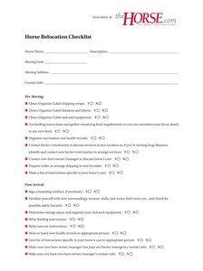 The Horse | Horse Relocation Checklist | TheHorse.com