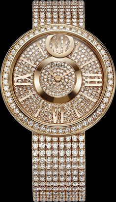 "Piaget ""Dancing Light"" Watch, 18k rose gold52 brilliant cut Diamonds. dial set with 335 Brilliant cut diamonds, with hour markers 18k rose gold, Bracelet set with 522 brilliant cut diamonds http://en.piaget.com/watches/pink-gold-diamond-watch-g0a37158"