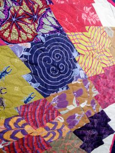 close up, Japanese Eggplant by Susan Lambert, quilted by New Pieces, photo by The Plaid Portico.  2014 Voices in Cloth show