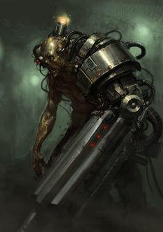 Cyber Zombie by Karl Kopinski Steampunk / fantasy inspiration Arte Horror, Horror Art, Rpg Cyberpunk, Warhammer 40k Art, The Revenant, Creature Concept, Shadowrun, Sci Fi Fantasy, Sci Fi Art