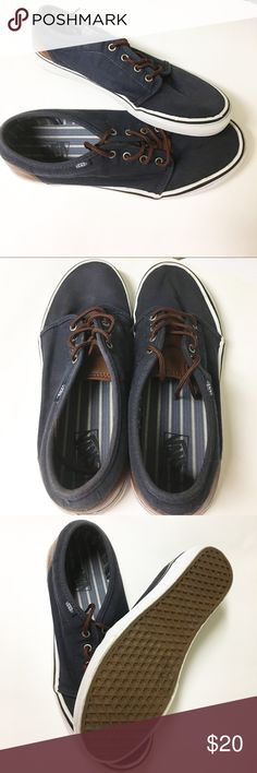Men's Navy Blue Vans I put in the washing machine and caused a little bit of fading of color near top of the heel. Worn just a handful of times and are priced accordingly. Vans Shoes Boat Shoes